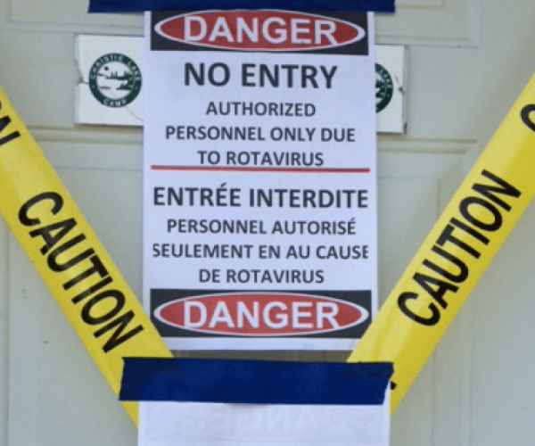 Caution sign warning of RotaVirus