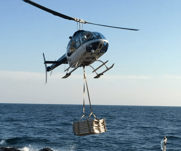 Helicopter carrying a heavy load